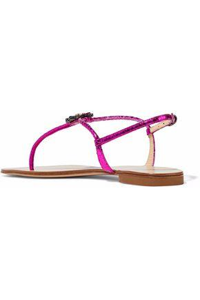 Giuseppe Zanotti Woman Embellished Metallic Lizard-Effect Leather Sandals Metallic