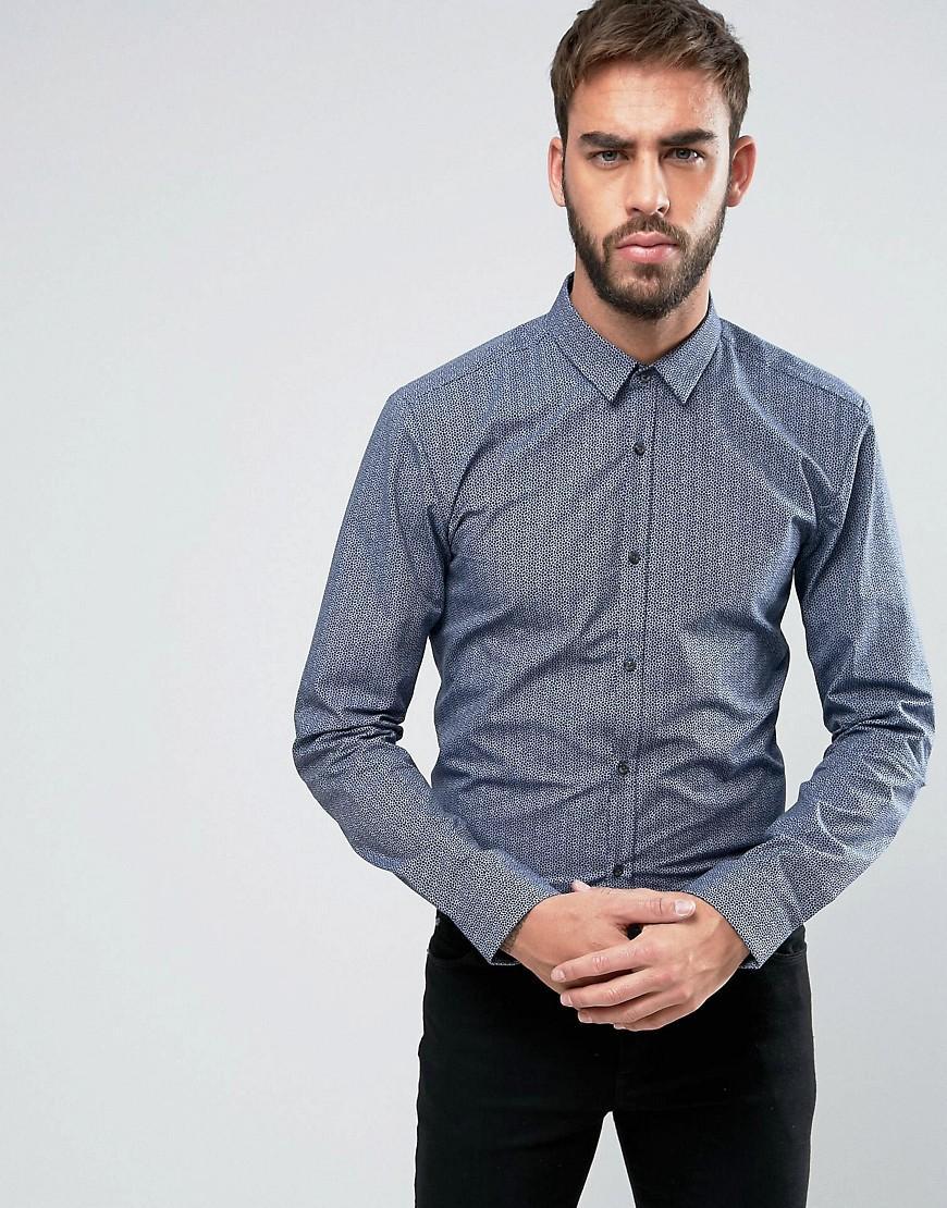 4a2ee795d Hugo By Boss Ero 3 Circle Print Shirt Slim Fit - Navy | ModeSens