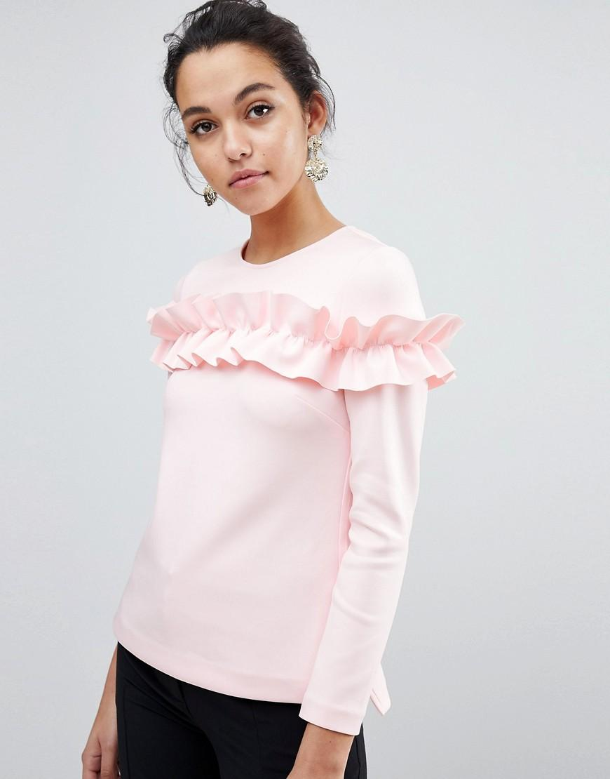 01b2bf924068 Ted Baker Aiya Long Sleeved Top With Statement Ruffle Front - Pink ...
