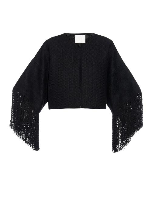 Adam Lippes - Basketweave Fringed Cropped Jacket - Womens - Black