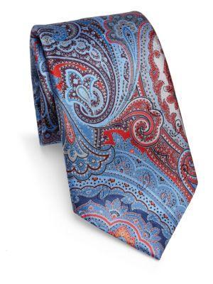 Ermenegildo Zegna Silk Paisley-Print Tie In Red
