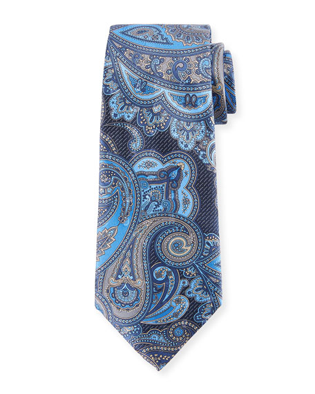 Ermenegildo Zegna Paisley-Print Silk Tie In Blue