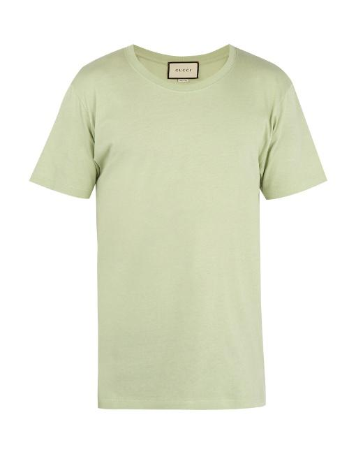 2be3d962 Gucci - Logo Print Cotton T Shirt - Mens - Light Green | ModeSens