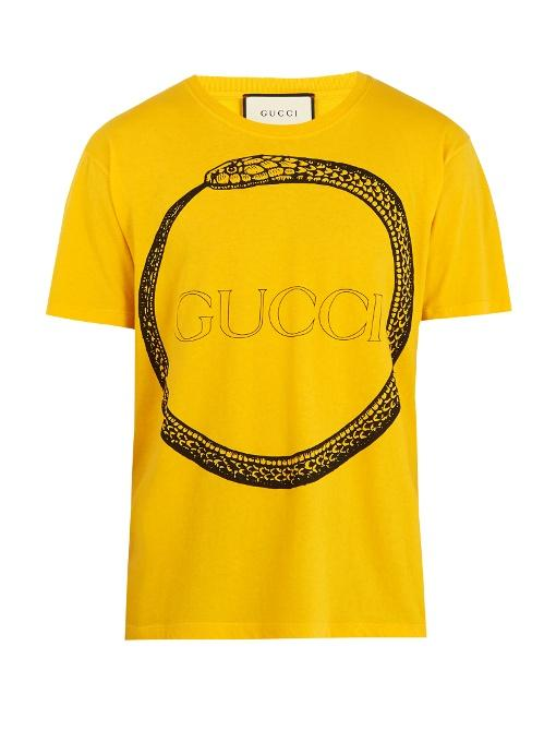 b88e6bf2a10 Gucci Snake And Logo-Print Cotton T-Shirt In Yellow