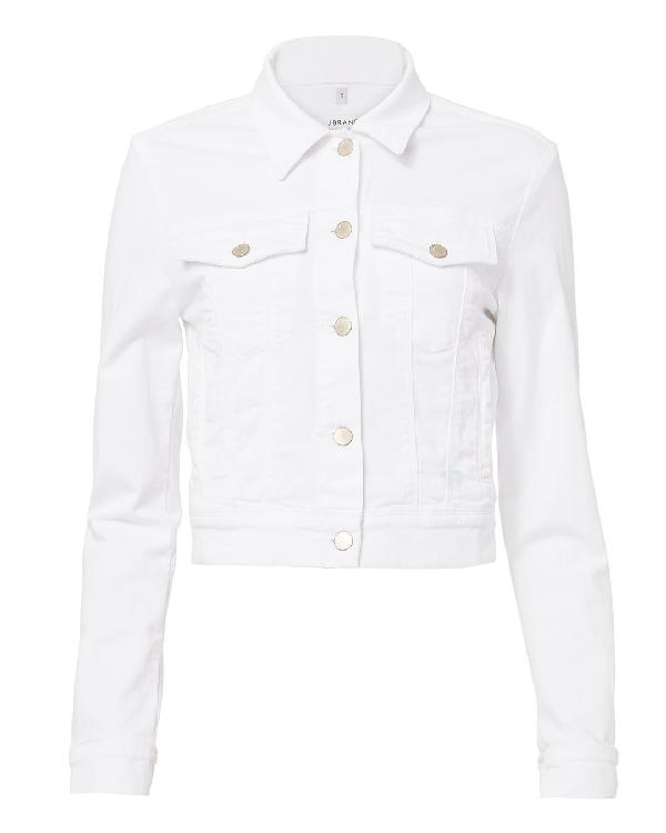 J Brand Harlow Shrunken Cropped Denim Jacket In White
