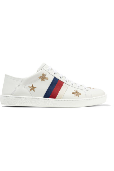 a06675a1989 Gucci Ace Embroidered Leather Collapsible-Heel Sneakers In White ...