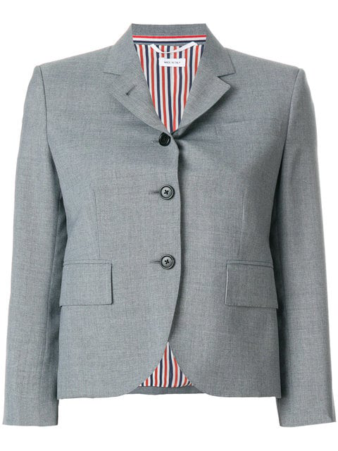 9801a4002fc Thom Browne Classic Breasted Sport Coat In School Uniform Plain Wool Blazer  In Grey