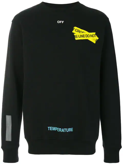 6de512cbbf5 Off-White Fire Line Tape Long-Sleeve T-Shirt In Black