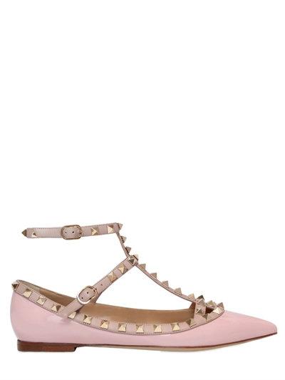Valentino Garavani Rockstud Patent Leather Flats, Light Pink