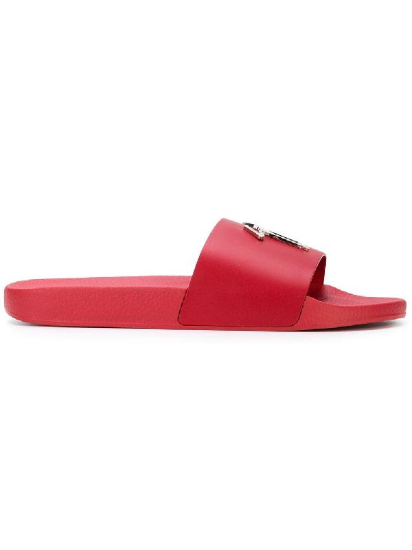 fe23c6a53fbc Giuseppe Zanotti - Red Leather Sandal With Metal Signature Brett ...