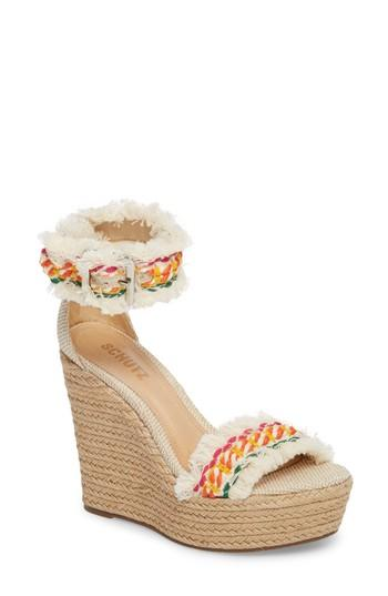 77122e3f5 Schutz Women s Munika Woven Ankle Strap Platform Wedge Sandals In White  Multi  Natural