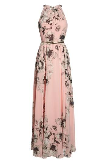 d8d52dbbaac1 Eliza J Belted Chiffon Halter Maxi Dress In Pink Multi | ModeSens