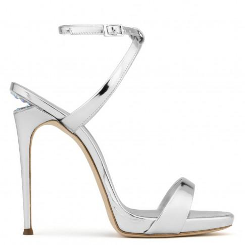 Giuseppe Zanotti - Patent Leather Sandal With Crystals And 'Sculpted' Heel Dionne 12 In Silver