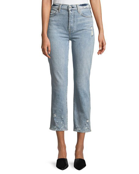 7 For All Mankind Edie Distressed Bleached Denim Straight-Leg Jeans In Blue