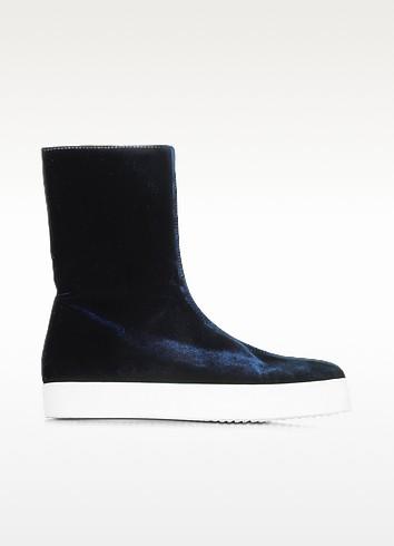 Jil Sander Dark Blue Velvet Boots W/rubber Sole In Navy