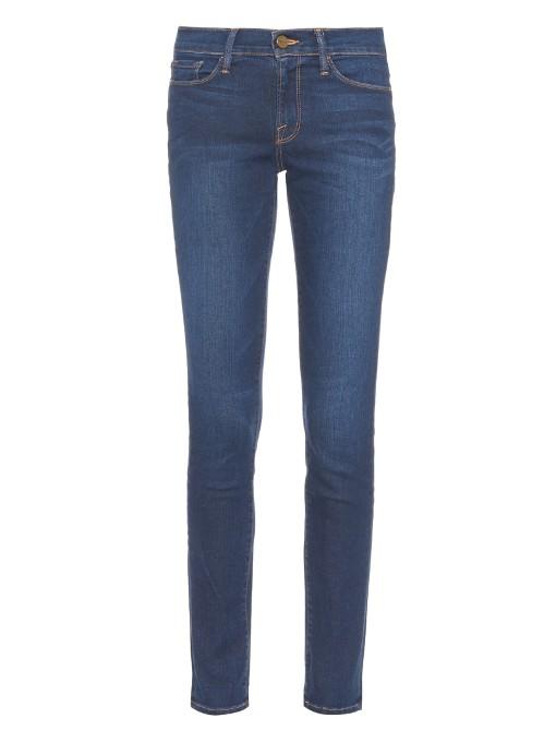 Frame Le Skinny De Jeanne Mid-rise Jeans In Dark-indigo