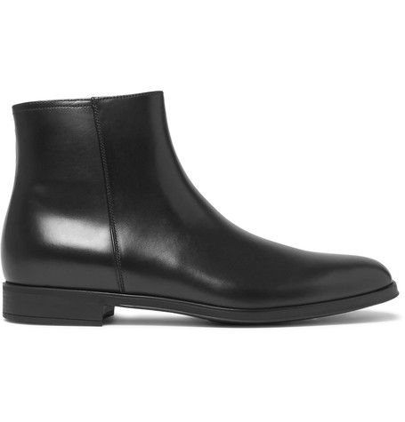 Prada Leather Boots In Black