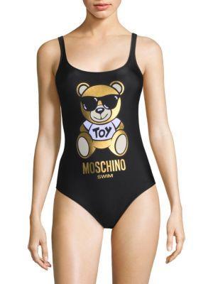 f6c7936d039885 Moschino One-Piece Teddy Bear Logo Swimsuit In Black | ModeSens