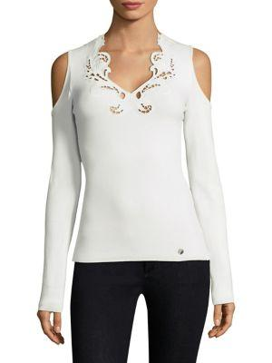 c8d2a970ca Versace Cutwork Cold Shoulder Top In Optical White