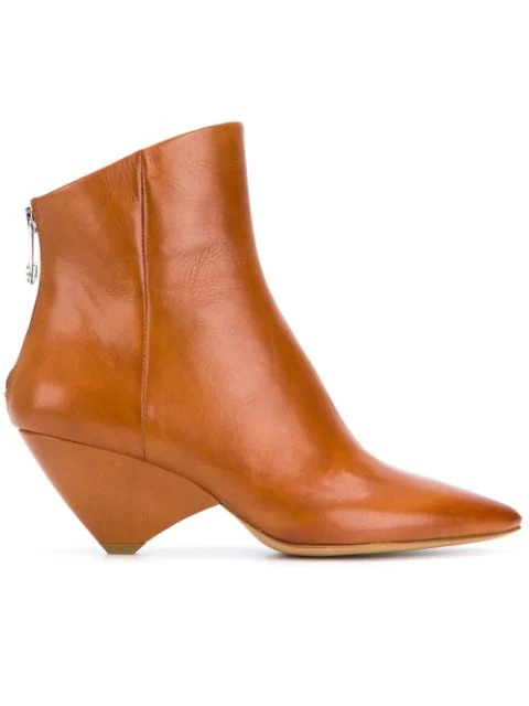 Maison Margiela Cone-Heel Leather Ankle Boots In Brown