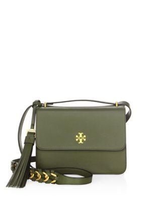 8c4e609358f Tory Burch Brooke Leather Crossbody Bag - Green In Leccio