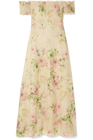 6a2fbdaa7f28 Zimmermann Iris Off-The-Shoulder Floral-Print Linen-Blend Maxi Dress ...