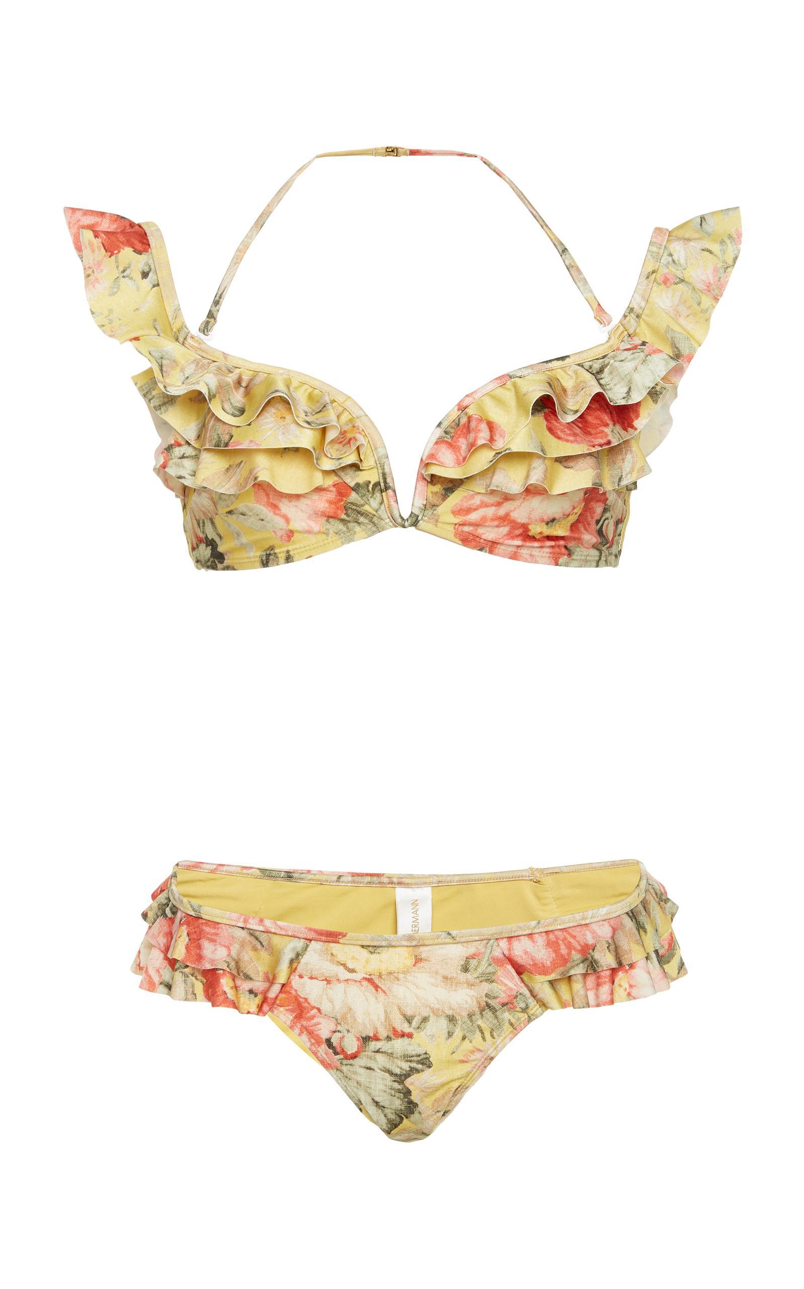 68068eaa585c2 Zimmermann Melody Off-The-Shoulder Frill Bikini Swim Set In Floral ...