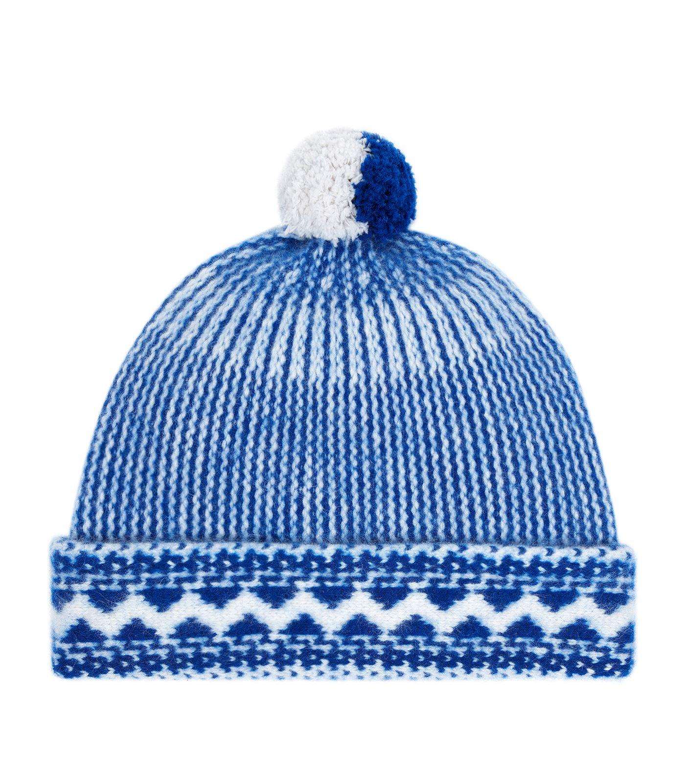 952a4cdd318 Burberry Fair Isle Pom-Pom Cashmere Beanie In Blue