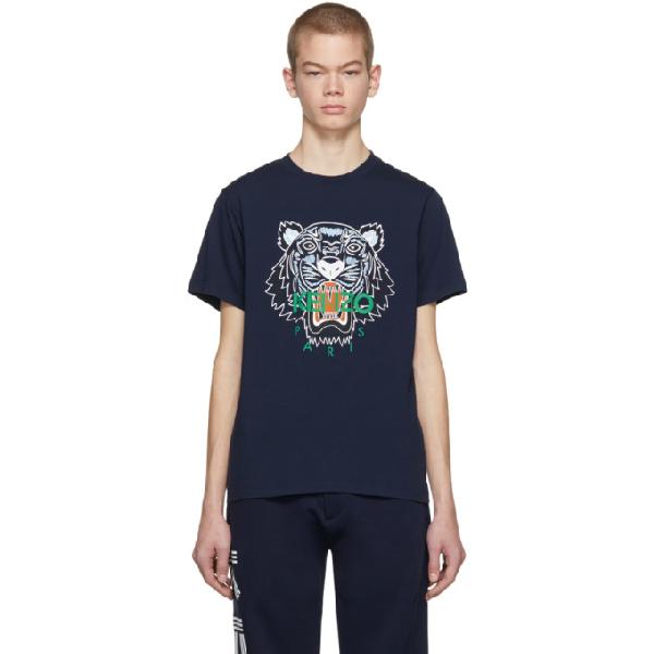 9f81171f4b88 Kenzo Tiger Logo Cotton Jersey T-Shirt - Navy In 78.Ink   ModeSens
