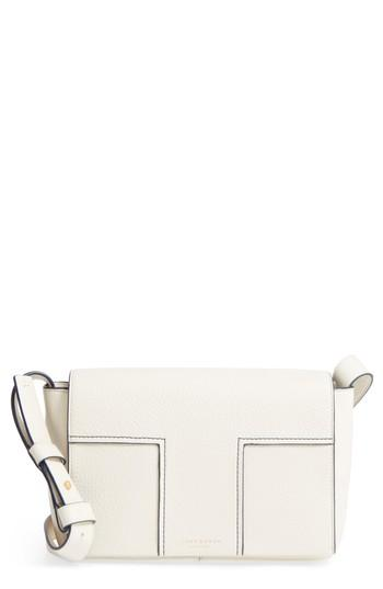 Tory Burch Block-T Pebbled Leather Shoulder Bag - White In New Ivory