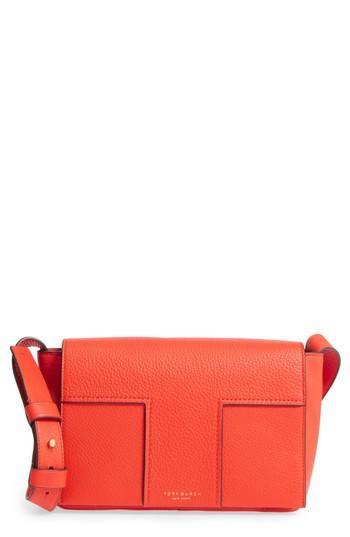 Tory Burch Block-T Pebbled Leather Shoulder Bag - Orange In Spicy Orange