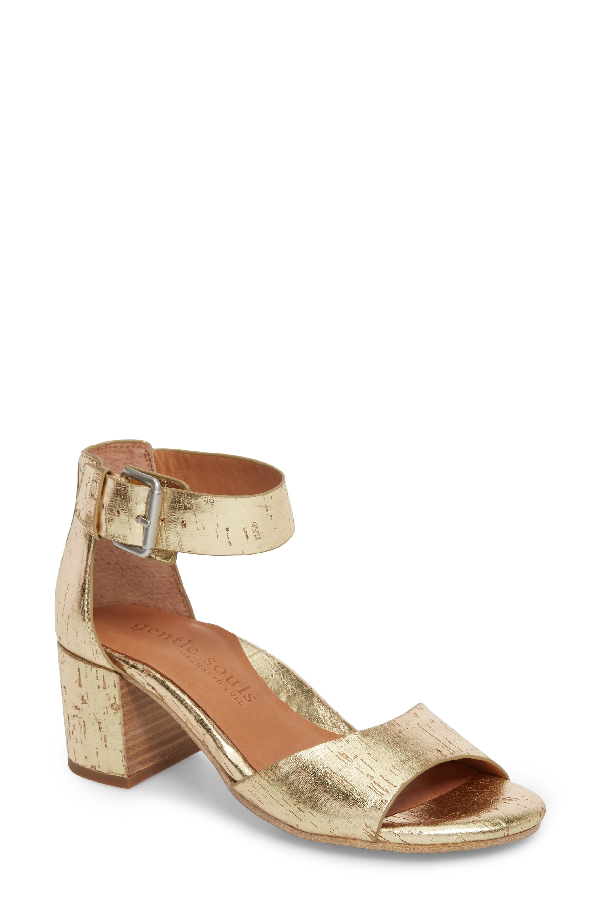 d7a977edf2a Gentle Souls By Kenneth Cole Christa Block Heel Sandal In Soft Gold Leather