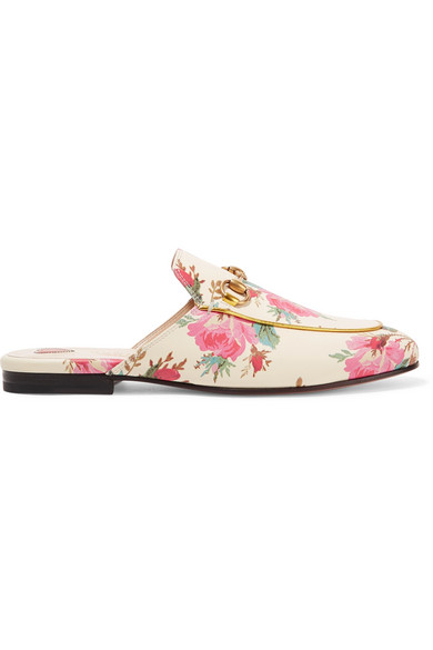 0a68d0ade74 Gucci Princetown Horsebit-Detailed Printed Leather Slippers In Cream