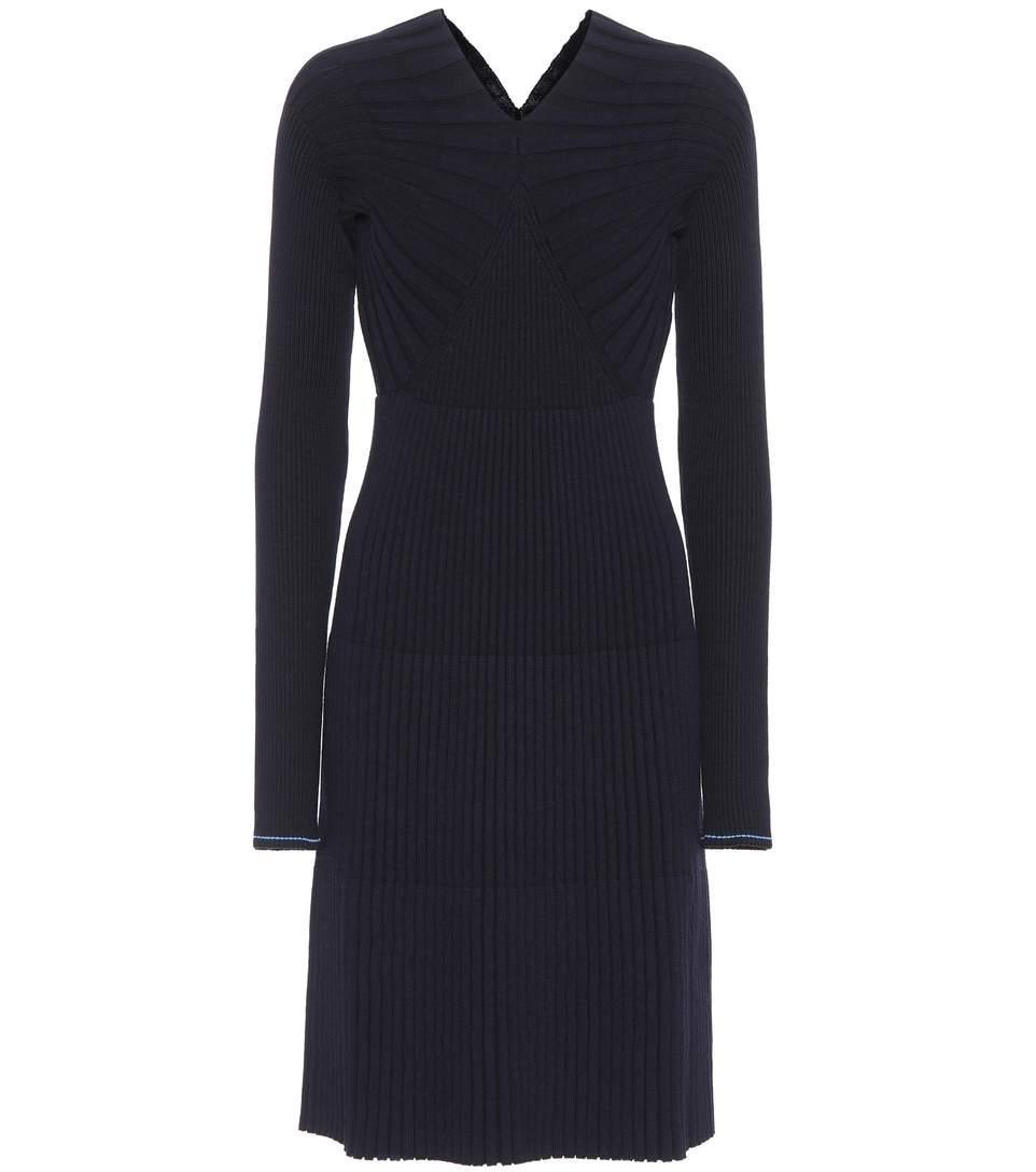 Victoria Beckham Wool-Blend Sweater Dress In Blue