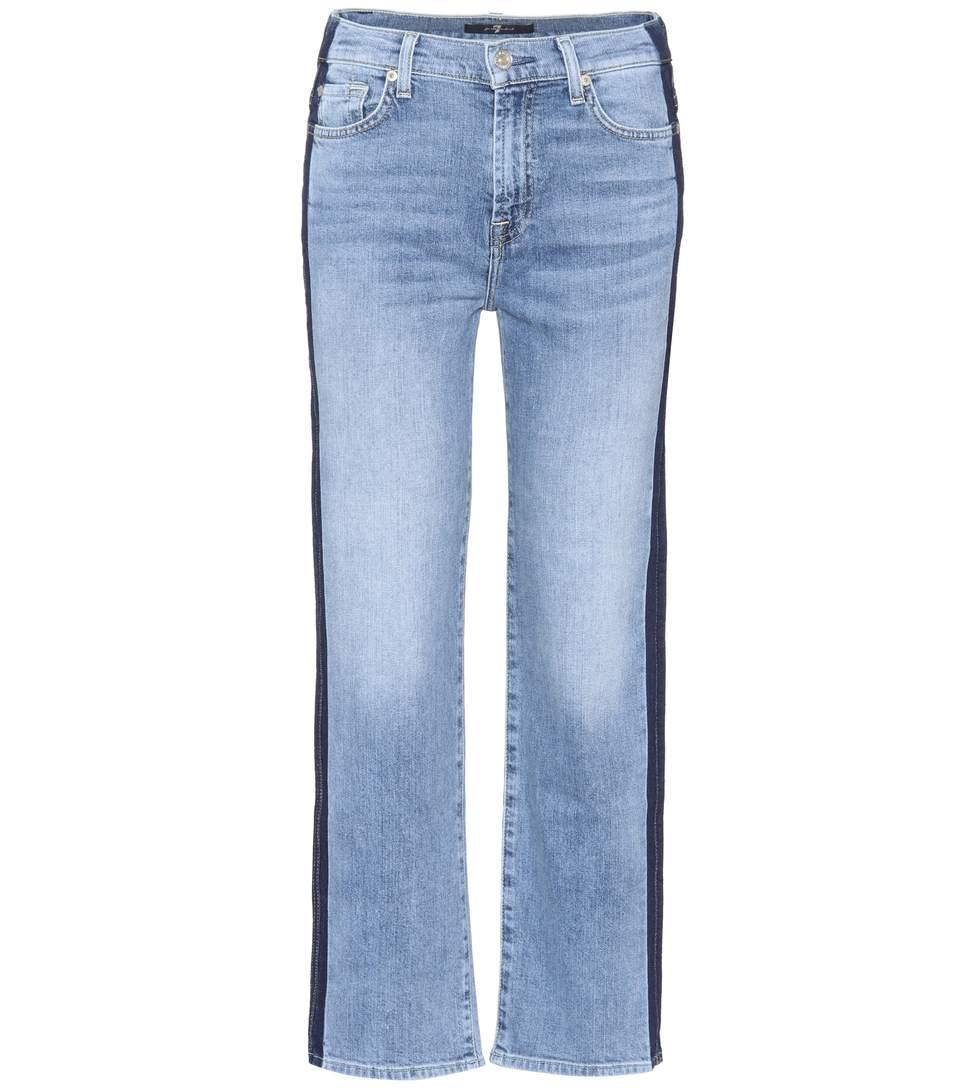 7 For All Mankind Kiki Cropped Wide-Leg Jeans In Blue