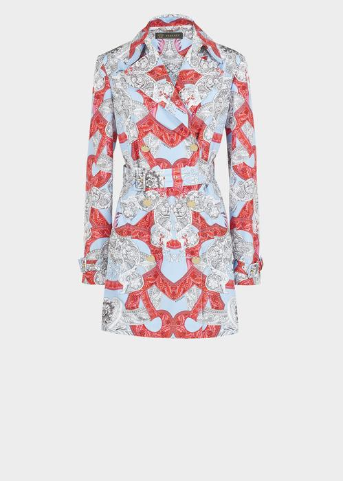 Versace Barocco Istante Trench Coat In Print