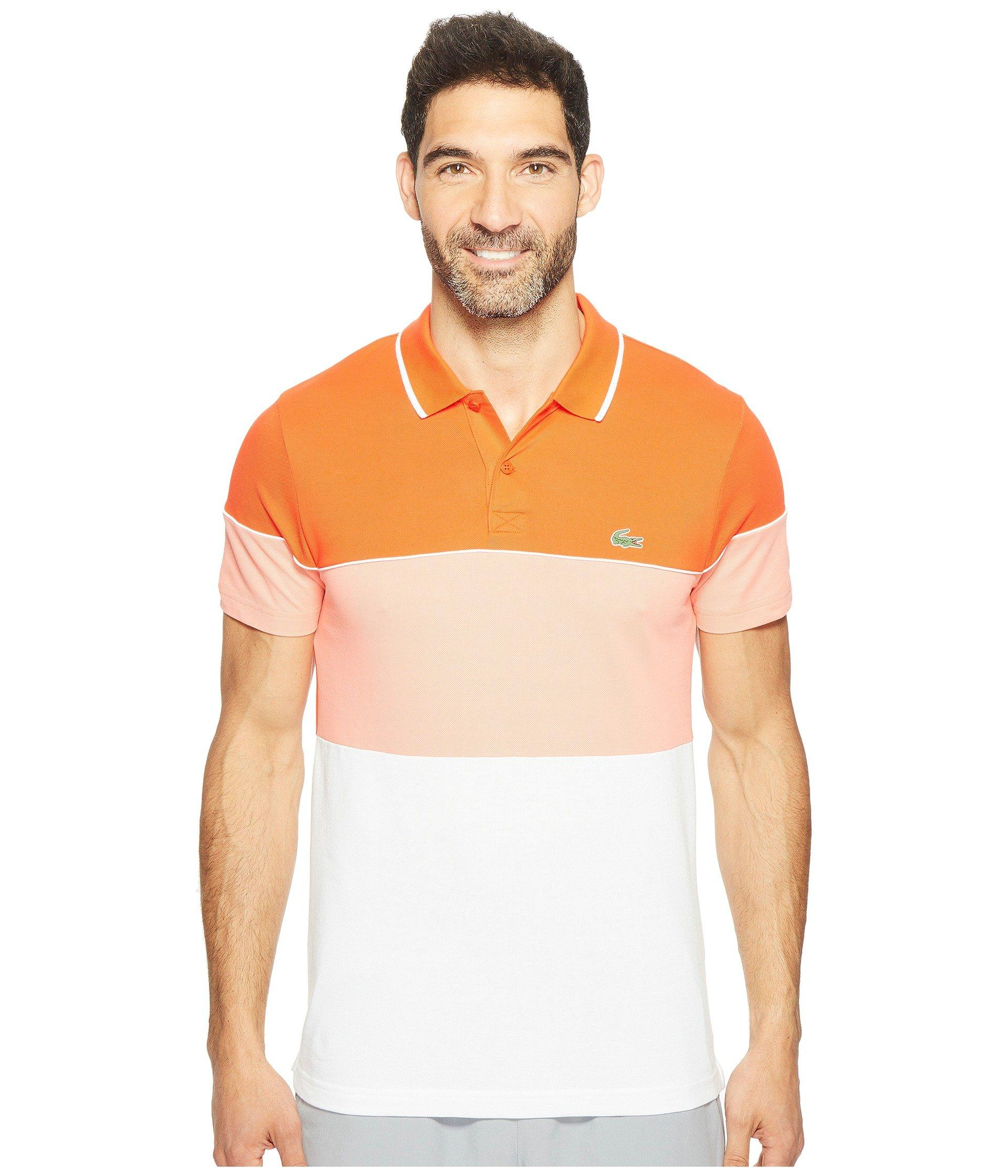 197066bbd7 Lacoste Golf Color Block Stripe Ultra Dry Pique Knit In Etna  Red/Tarama/White