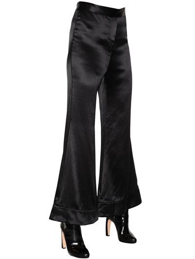Ellery Revolver Flared Textured Silk Pants In Black