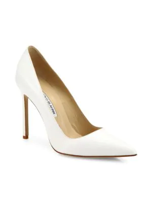 Manolo Blahnik Bb Leather 105Mm Pumps In White
