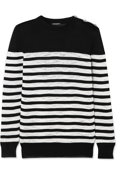 Balmain Button-Embellished Striped Open-Knit Sweater In Black