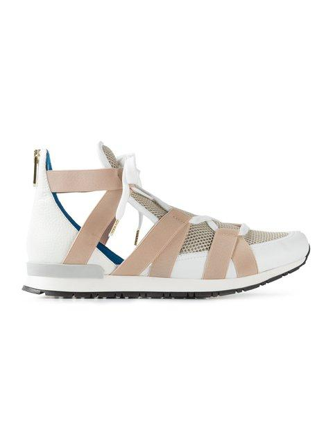 Vionnet Women's Mid-Top Mesh Panelled Sneakers In Beige And White
