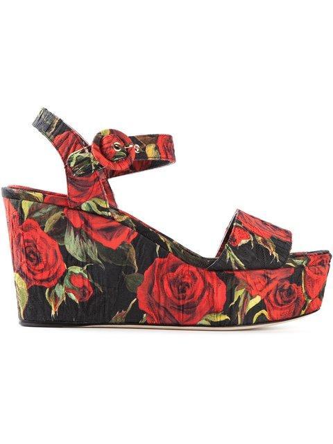 Dolce & Gabbana Rose Print Brocade Wedge Sandals In Red