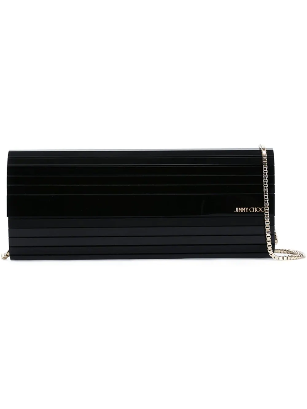 Jimmy Choo Sweetie Black Acrylic Clutch Bag With Gold Chain Strap