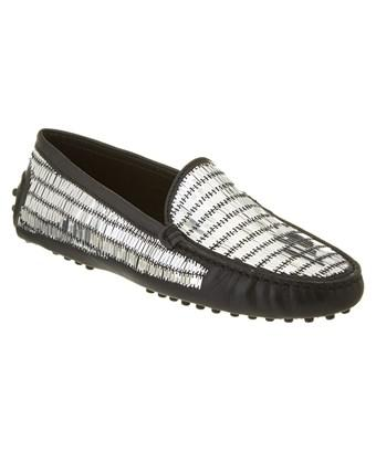 Tod's Gommino Embellished Leather Driving Shoe In Black