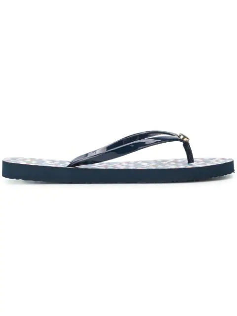 Tory Burch Thin Tory Navy And Psychedelic Geo Flip Flop In Blue