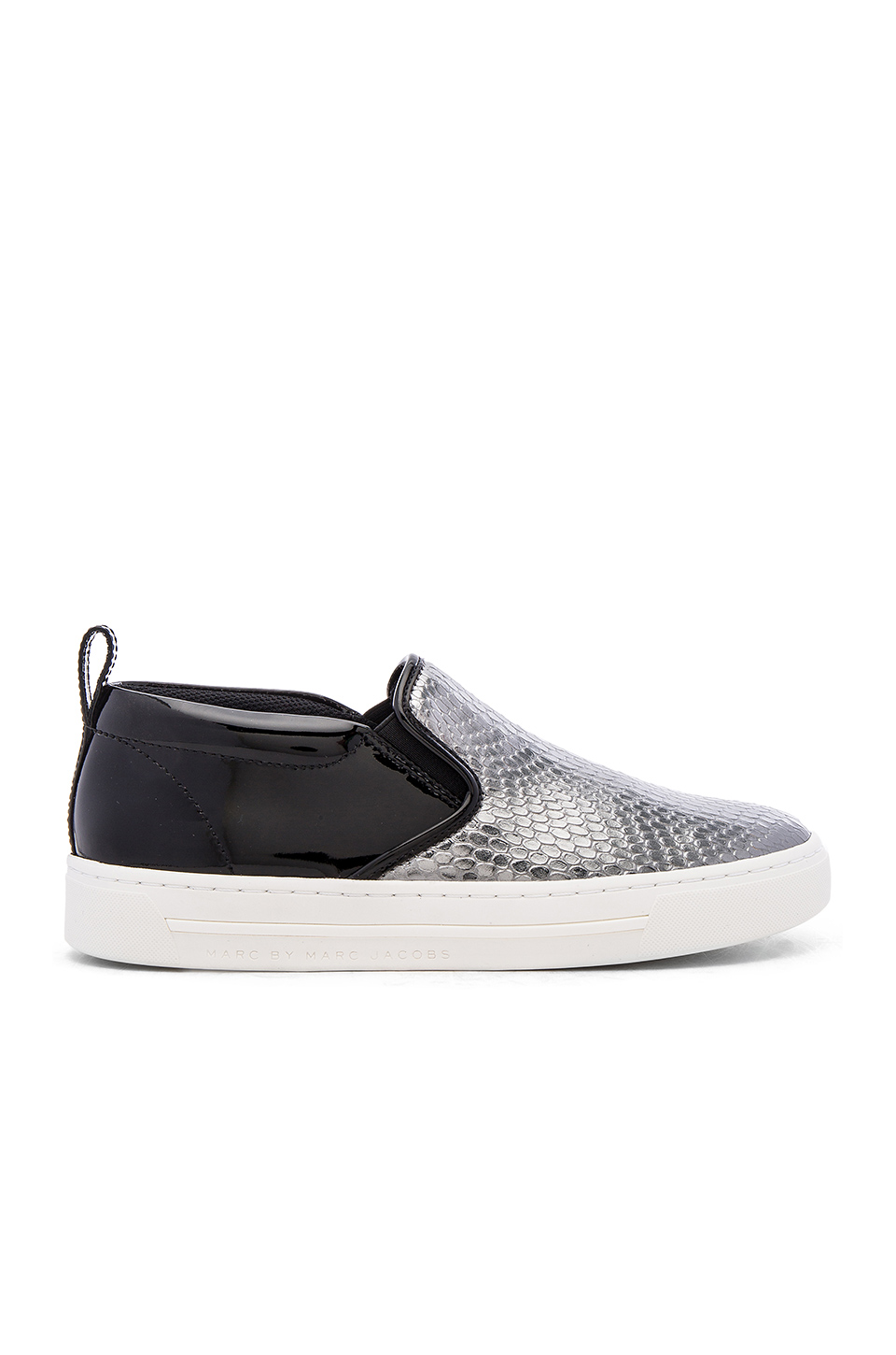 Marc By Marc Jacobs Leather Glitter Slip-On Sneakers In Dark Silver