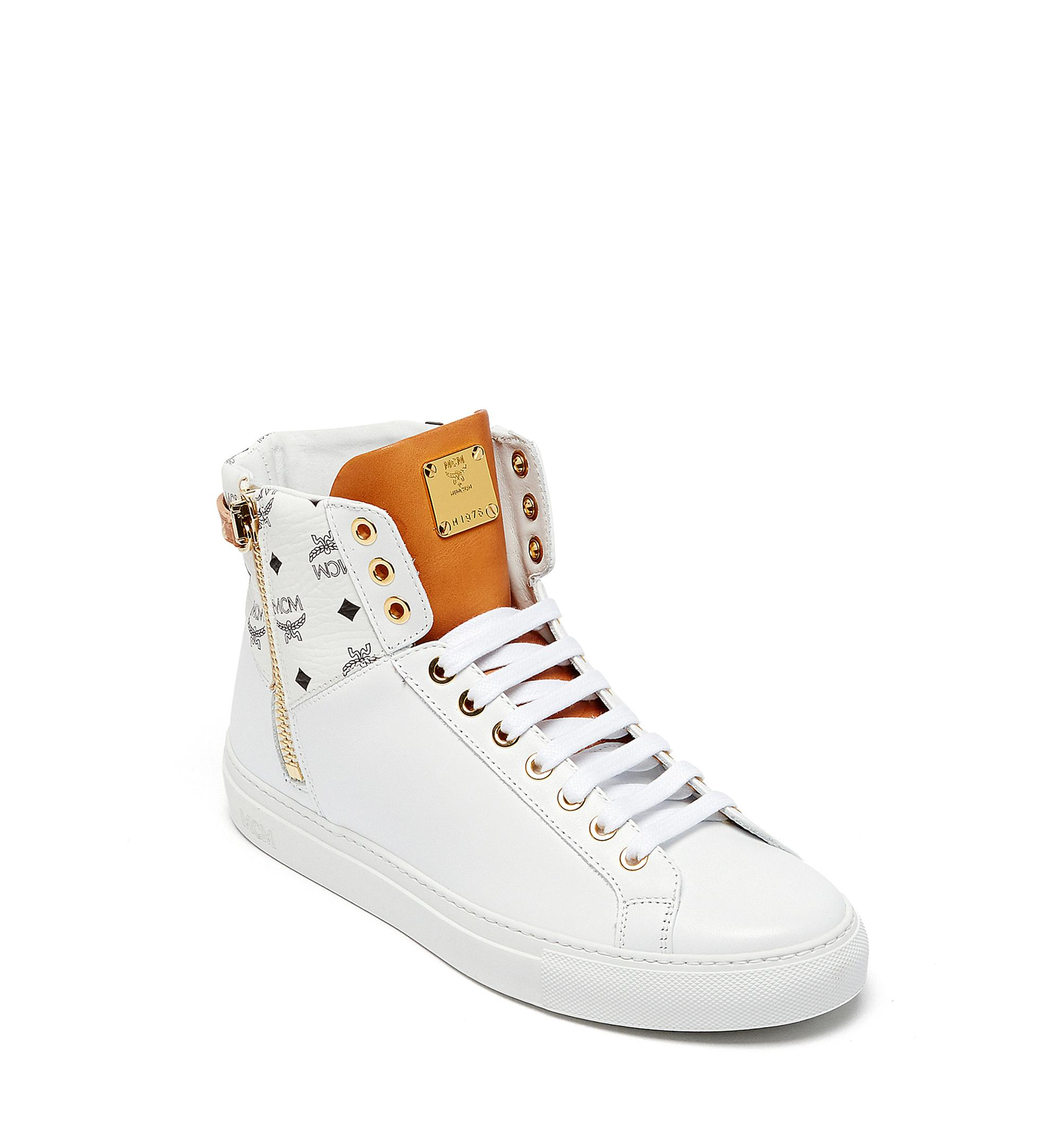 e565a8dee1b Mcm Women's Visetos Zip High Top Sneakers In White In Wt | ModeSens