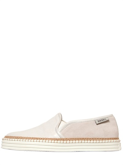 Hogan Rebel 20Mm Leather & Suede Slip On Sneakers In Off White