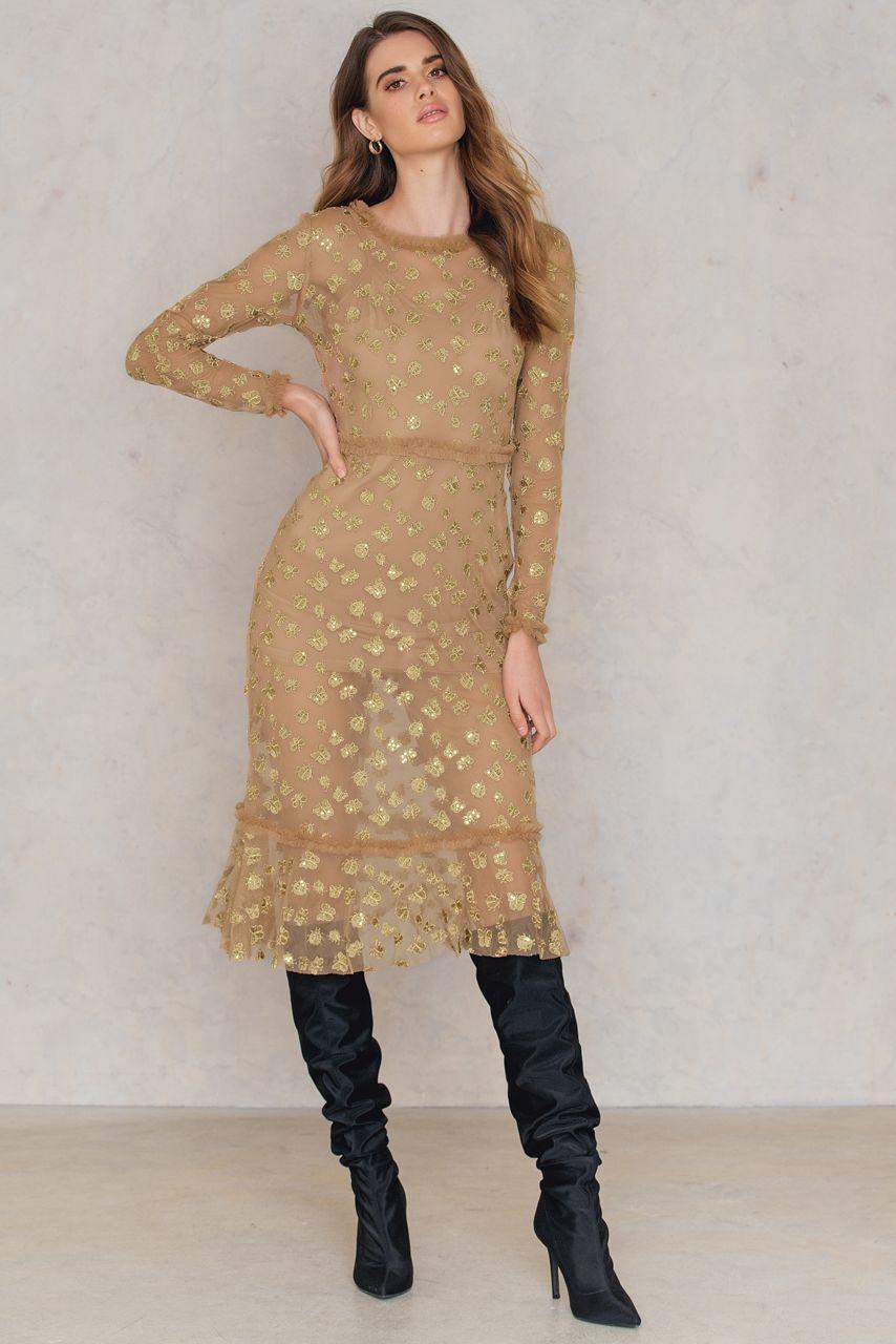 634bf2a00f For Love & Lemons Golden Garden Tulle Midi Dress - Gold | ModeSens