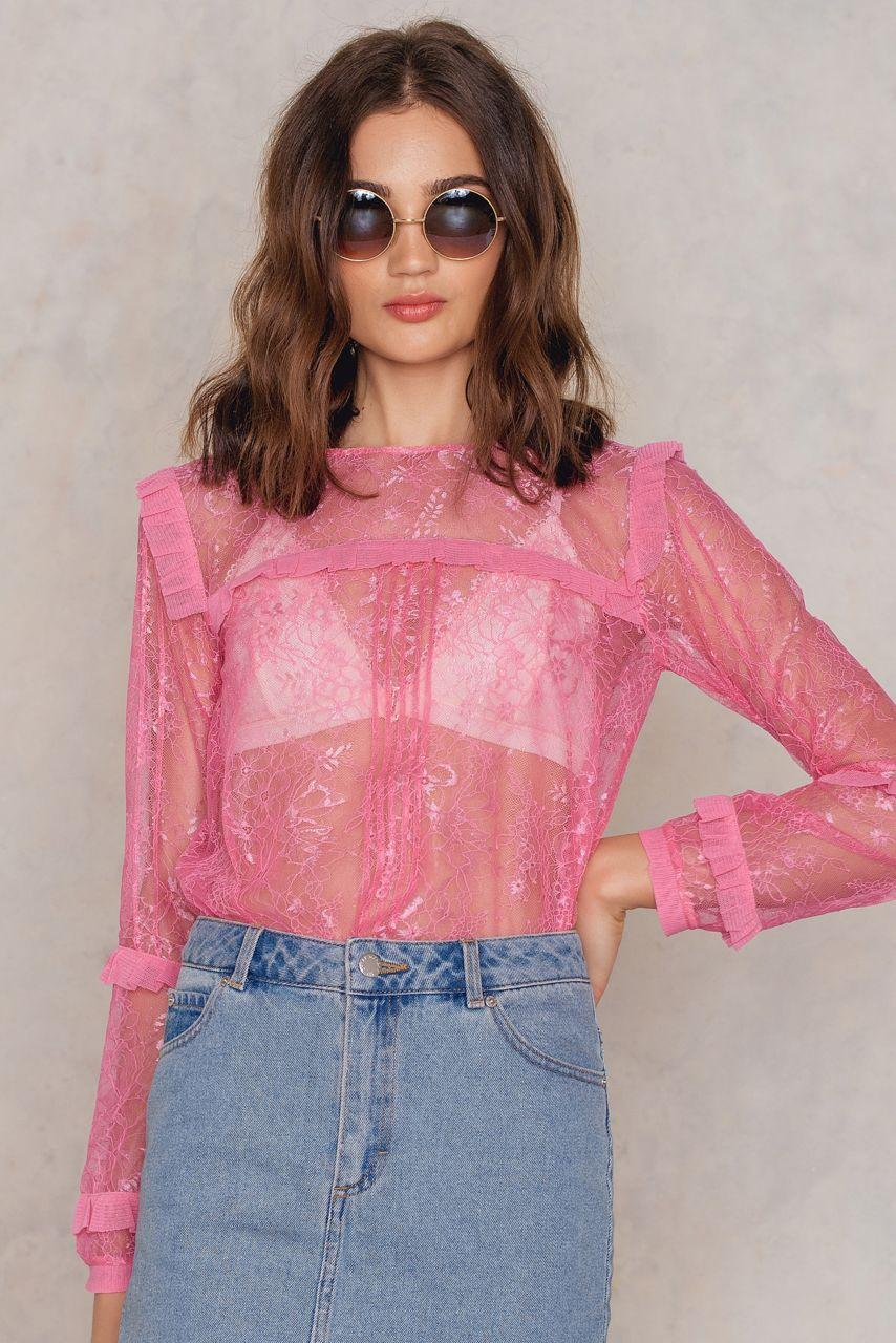 a344f21eff287 For Love & Lemons Stardust Lace Blouse - Pink | ModeSens